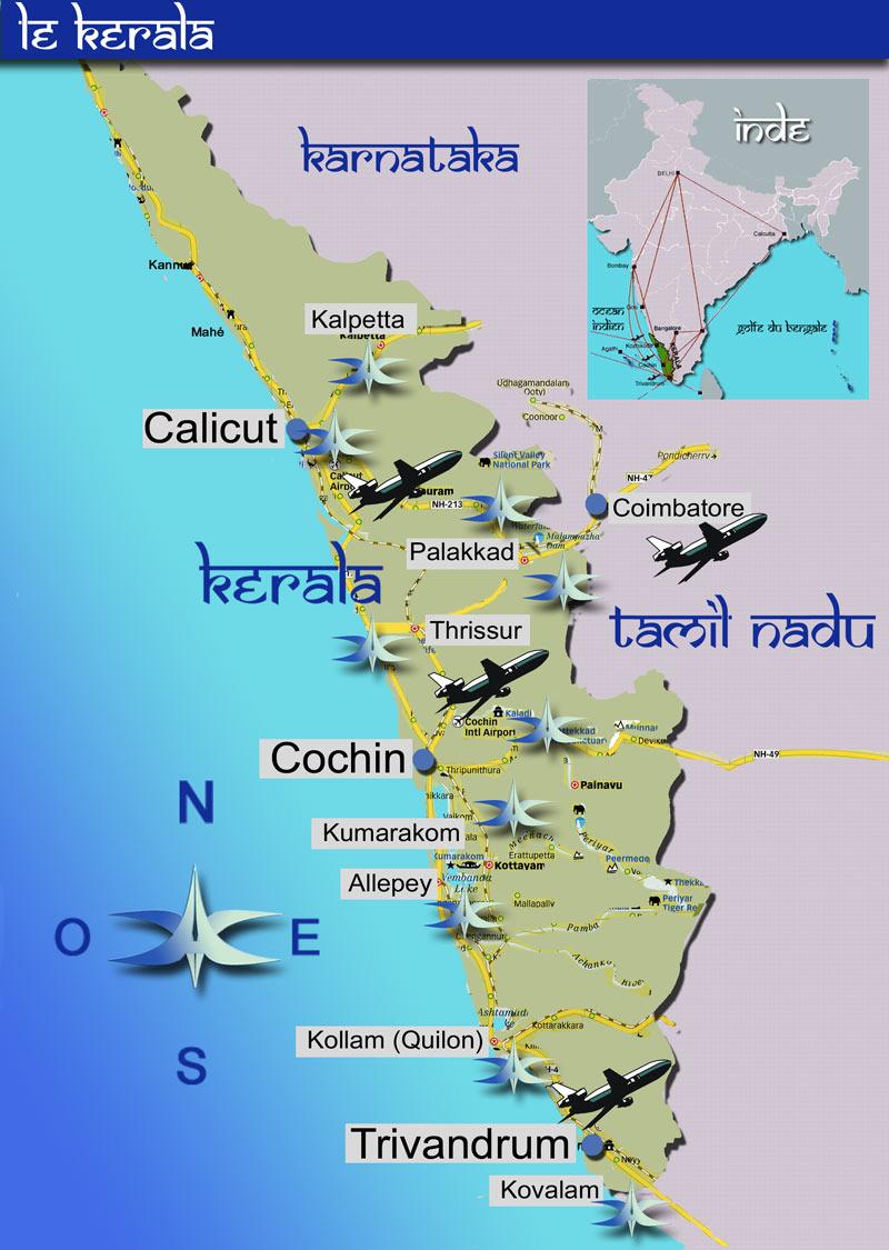Carte Inde Kochi.Ayurveda Voyages